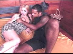 Transsexuelle aux gros seins baise avec un black tatoué